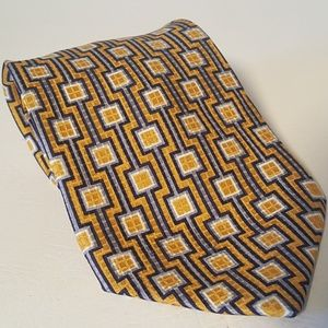 J FERRAR Tie Italian Mens Necktie Gold Blue Italy